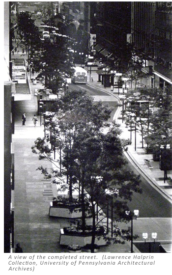 A view of the completed street. (Lawrence Halprin Collection, University of Pennsylvania Architectural Archives)