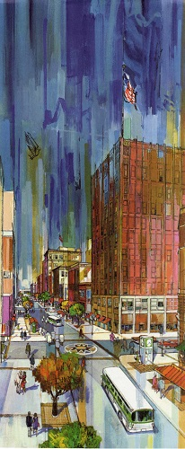 An anonymous artist's interpretation of Nicollet Mall (Minneapolis Collection, Minneapolis Central Library)
