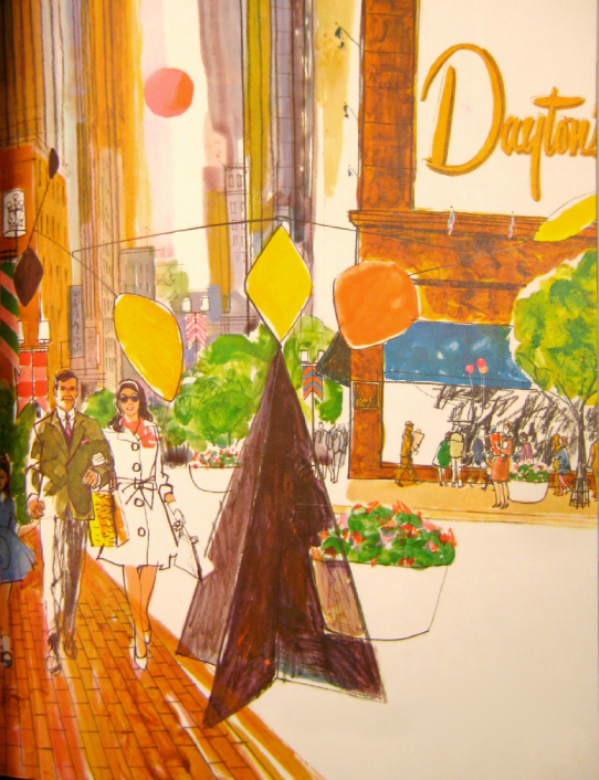 An artistic rendering of Nicollet Mall with the Alexander Calder mobile-stabile sculpture in front of Dayton's department store (artist unknown). (Dayton-Hudson Collection, Target Corporation Brooklyn Park, MN)