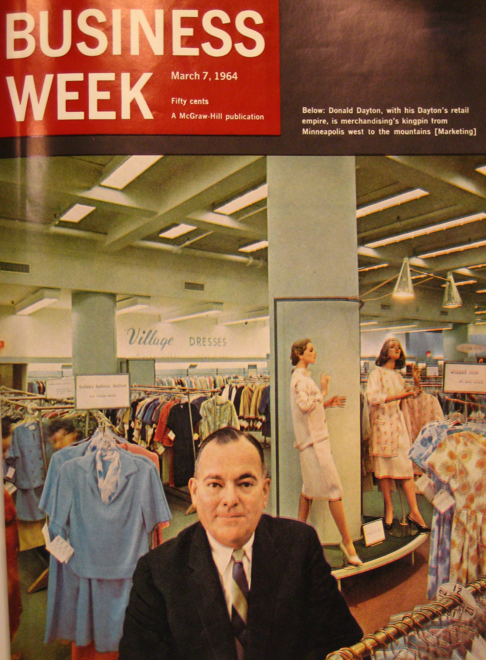 Donald Dayton on the cover of 'Business Week,' in front of Dayton's department store in Minneapolis.  (Dayton-Hudson Collection, Target Corporation Brooklyn Park, MN)