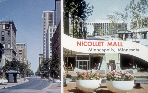 Postcard advertising Nicollet Mall, showing the serpentine curve and Minuro Yamasaki's Northwestern National Life Building (now known as ING 20 Washington). (Digital Content Library, University of Minnesota).