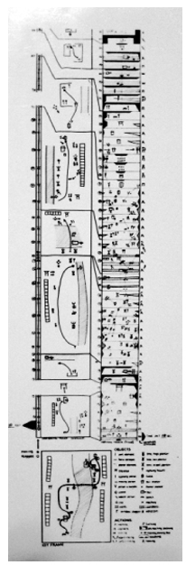 The complex annotations of Halprin's motation system, measuring people's movement through space over a length of time. (Lawrence Halprin Collection, University of Pennsylvania Architectural Archives).