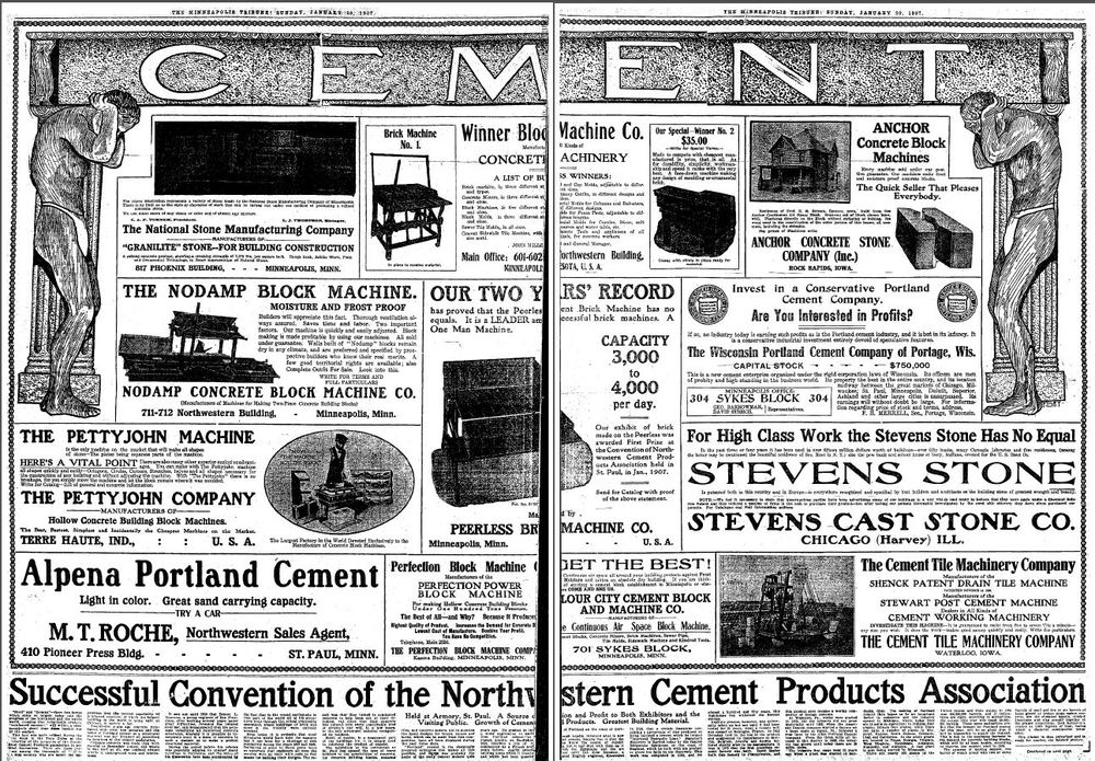 A two page spread of advertisements for concrete blocks and concrete block machines from a 1907 edition of the  Minneapolis Tribune .