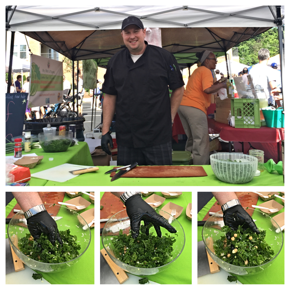 Chef John teaching us to massage our leafy greens!