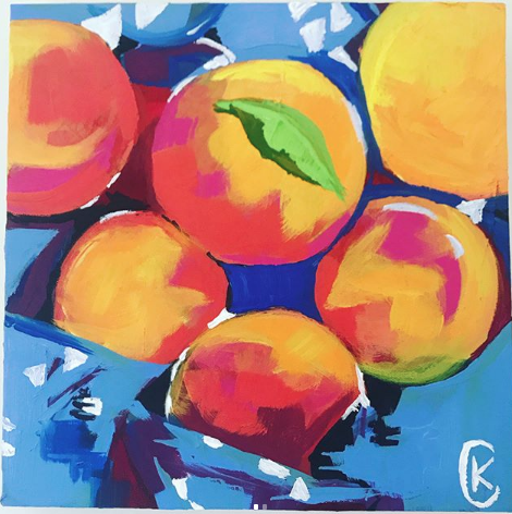 Peaches in acrylic by  @christinakendallart