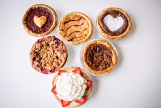 NEW this week: Crave Pie Studio   - Pie: Peach. Blueberry.  Cherry. Apple. Chocolate Chess. Maple Pecan. Chocolate Bourbon Pecan.  Lemon Chess. Blueberry Lemon Chess. Quiche:  Cheddar Bacon.  Sun Dried Tomato Basil Pesto.Spinach Roasted Red Pepper.