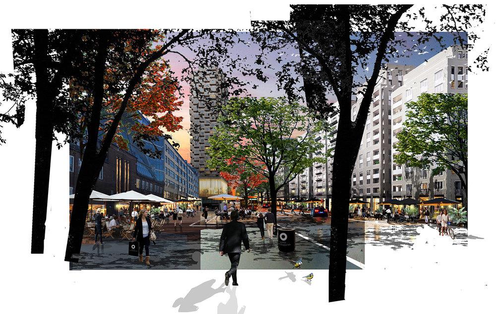 Collage Norra Stationsgatan, söderifrån.Arkitekt: Peter Becht