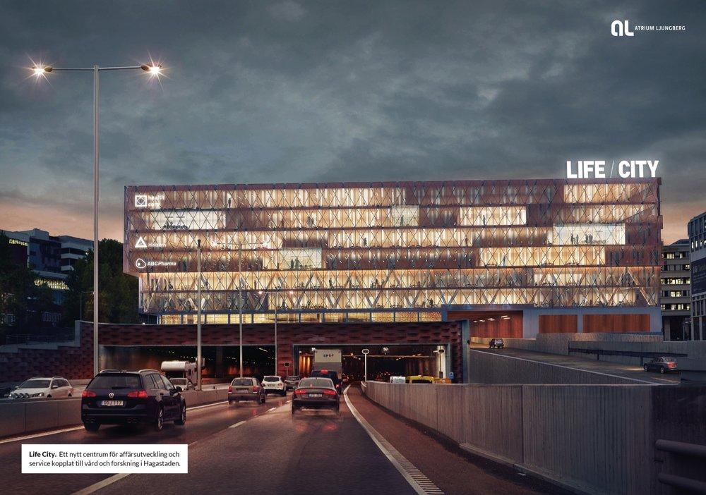 Life City.  Ett nytt centrum för affärsutveckling och service kopplat till vård och forskning i Hagastaden. Atrium Ljungberg
