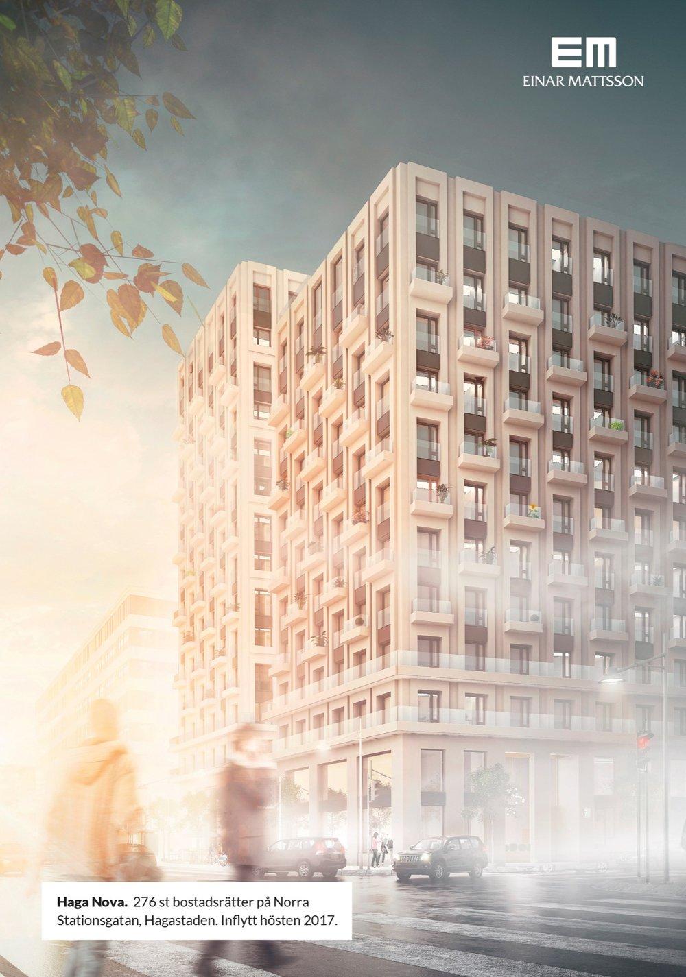 Haga Nova.  276 st bostadsrätter på Norra Stationsgatan, Hagastaden. Inflytt hösten 2017. Einar Mattsson