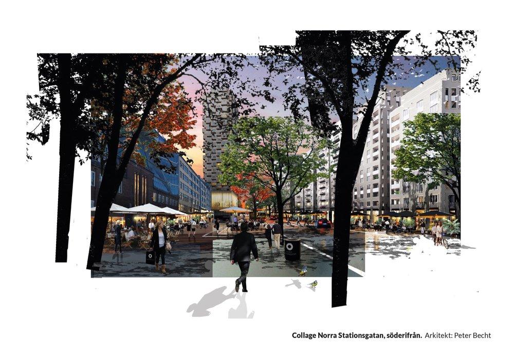 Collage Norra Stationsgatan, söderifrån. Arkitekt: Peter Becht