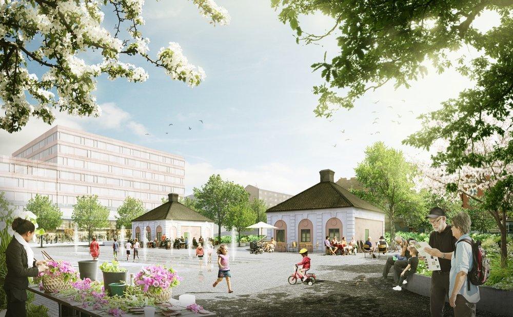 Gamla tullhusen vid Norrtull, visionsbild: Stockholm Stad