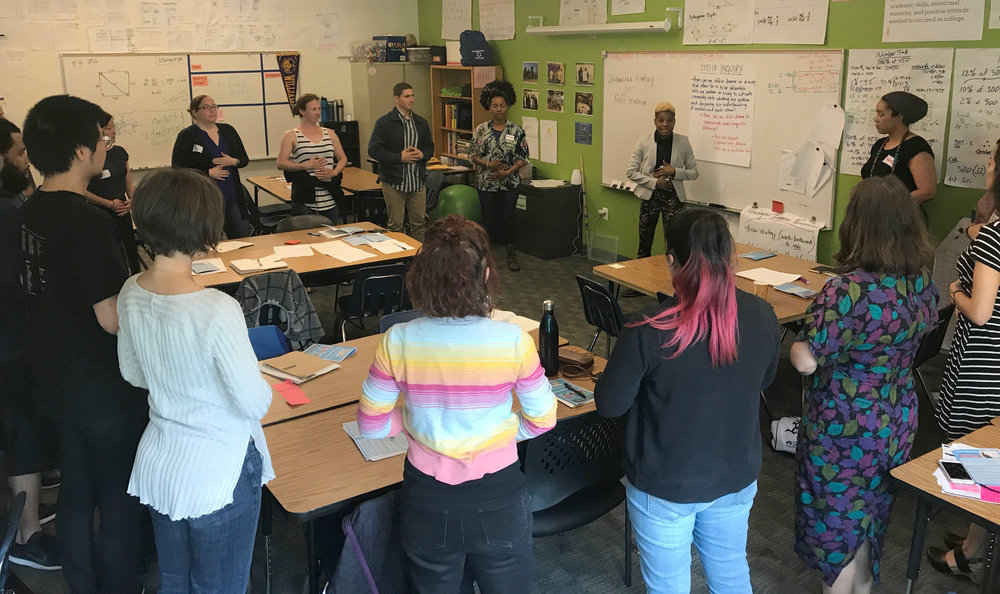 "Images above from  Teacher Fellow Aáron Heard's  workshop, ""Think, Feel, Care: Using the TFC Thinking Routine to Gain Insight Into Your Students' Experiences."" Ms. Heard is the Drama Teacher at Alliance Academy of Integrated Learning, OUSD."