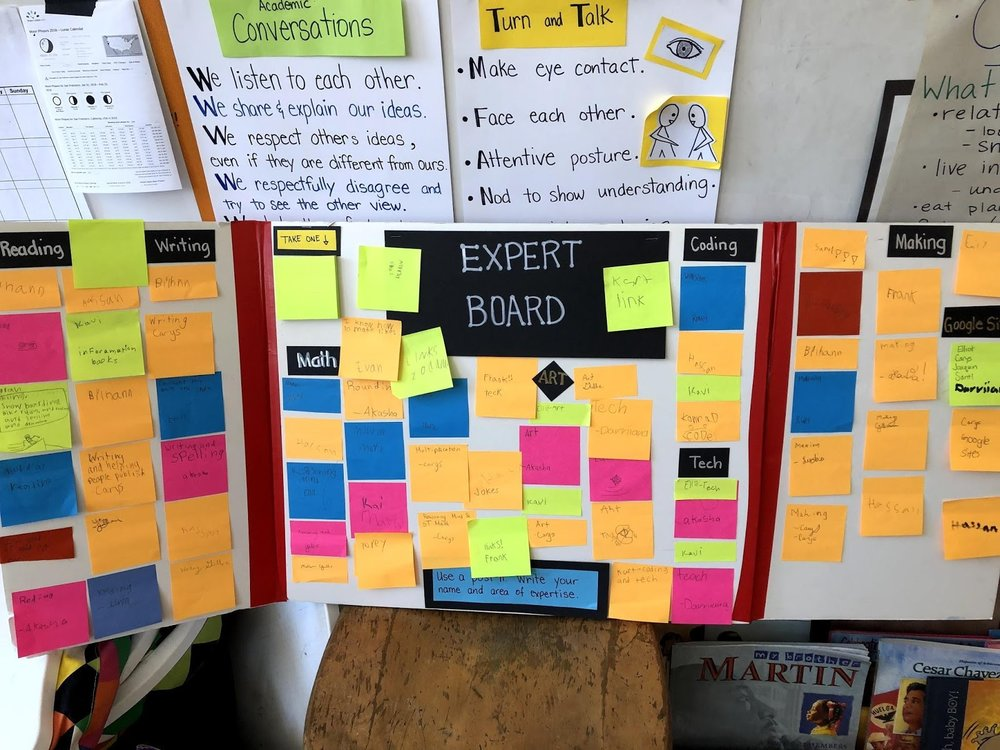 "The ""Expert Board"" full of student contributions."