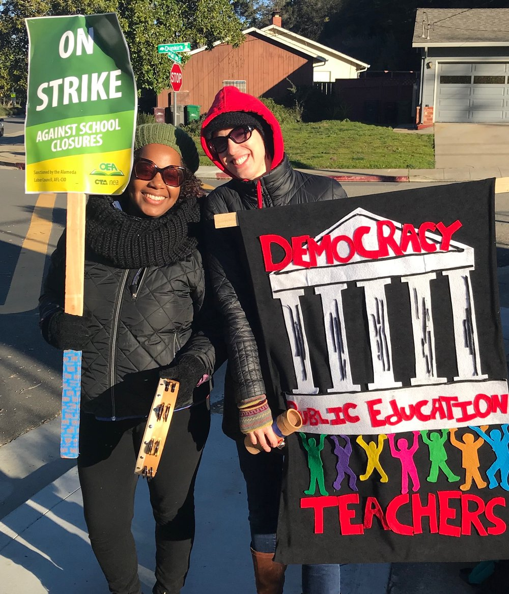 Fellowship Director, Paula Mitchell and Executive Director, Brooke Toczylowski, picketing at Grass Valley Elementary School during the Oakland Education Association's 7-day strike, from February 21 to March 1, 2019.