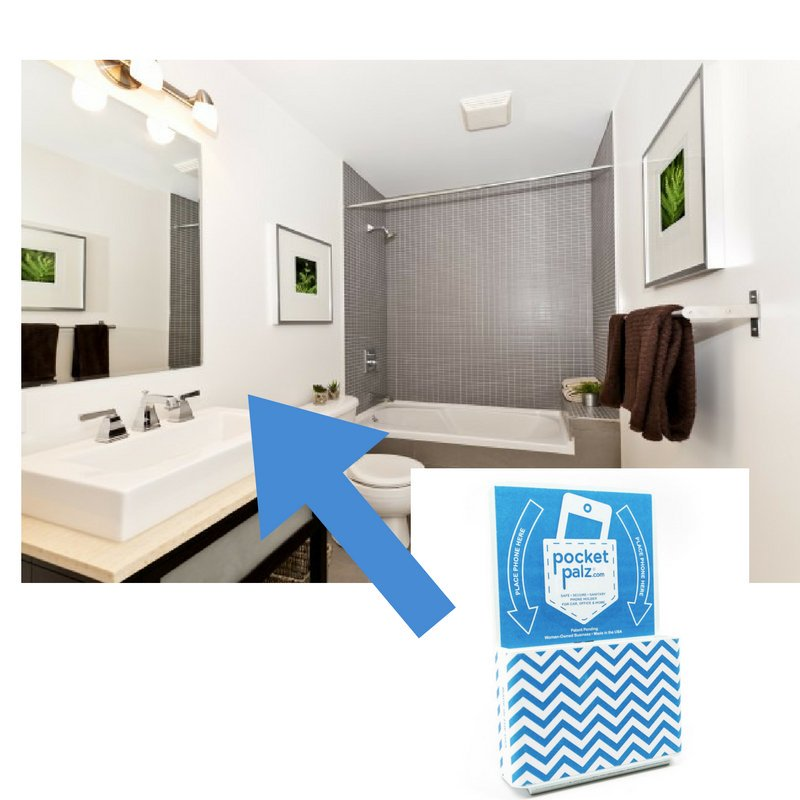 Pocket Palz on your bathroom wall so your phone won't fall!