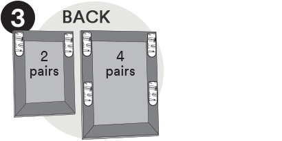For Pocket Palz -Place strips HORIZONTAL - one on top and one on bottom. For Pocket Palz Deluxe place one strip on each corner as shown.