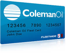 This is a sample of a Coleman Oil fleet card.