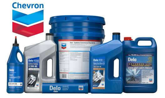 A photo of Chevron branded lubricant products. This image serves as a link to Coleman Oil's Chevron Lubricants information page.