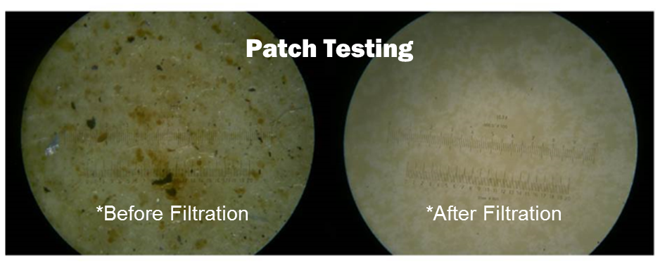 An image of patch testing that shows contaminates in lubrication before the ISOCLEAN filtration process. After the ISOCLEAN filtration process, the sample is clear of contaminates.
