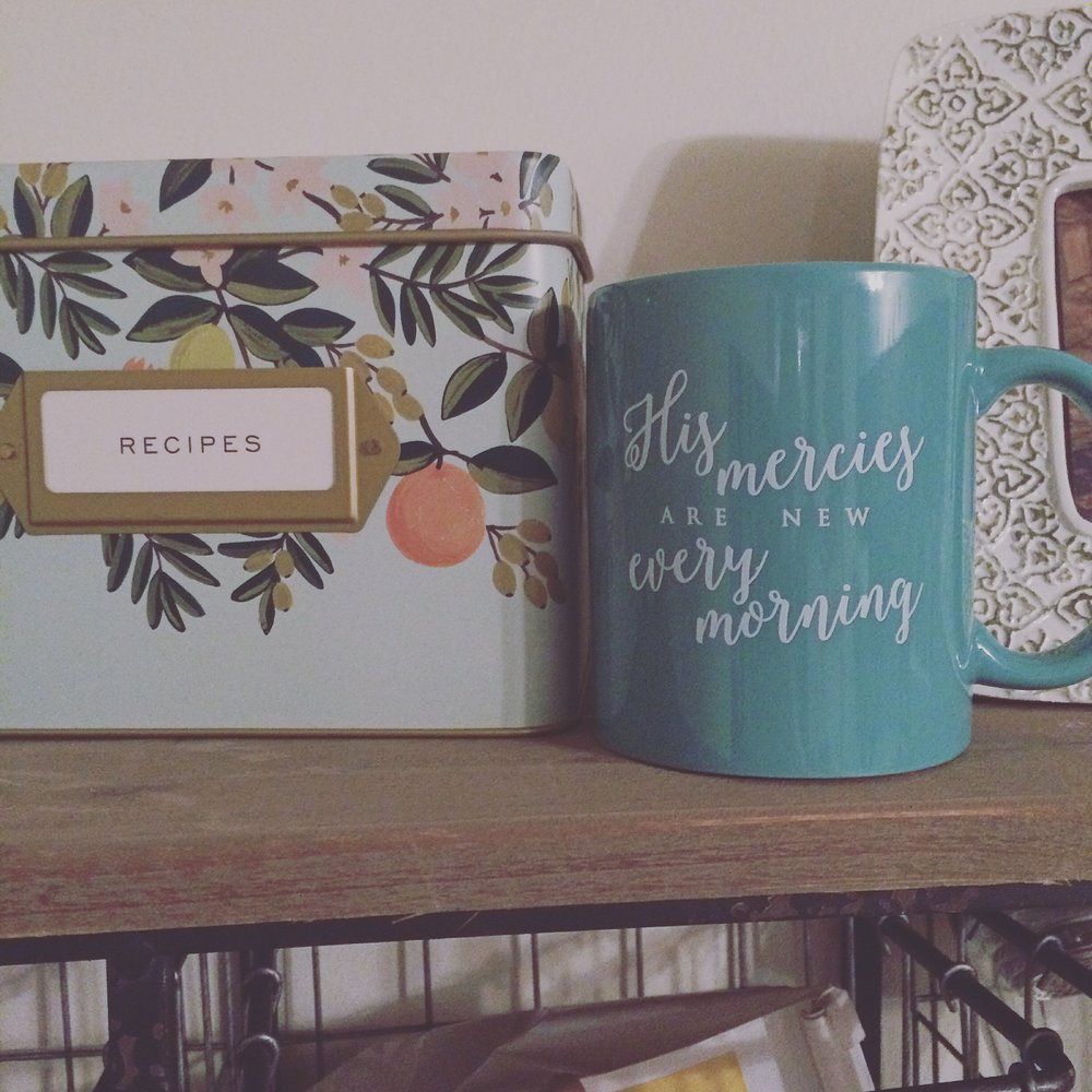Recipe box:  Rifle Paper Co.  Mug:  The Daily Grace Co.