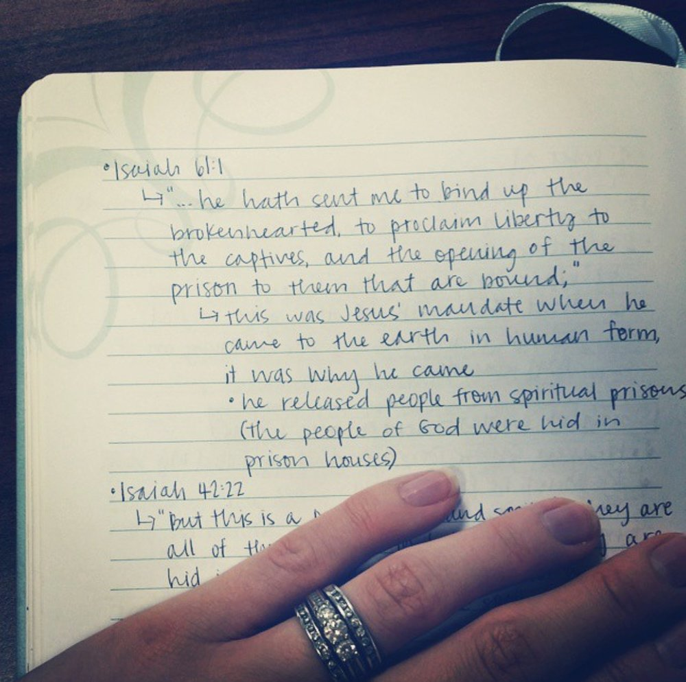 A photo of my notes from the sermon I mentioned in the beginning of this post.