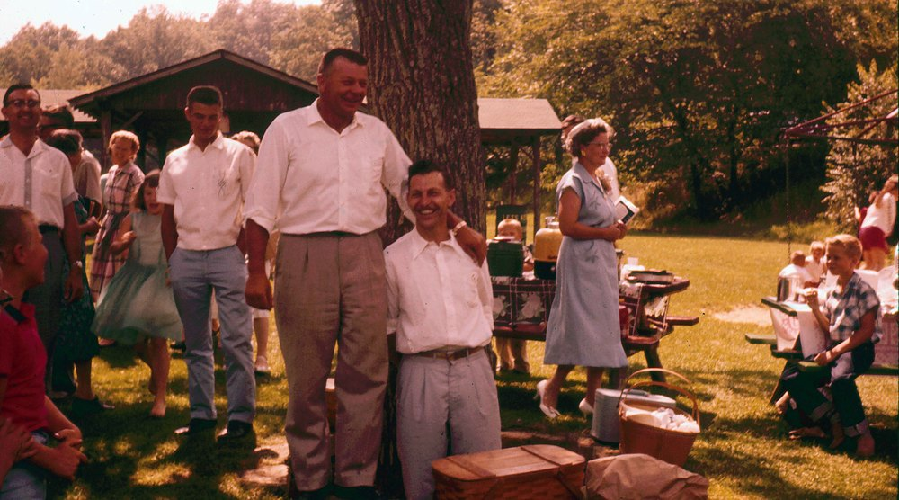 After church picnics were always a time of fellowship and good humor.