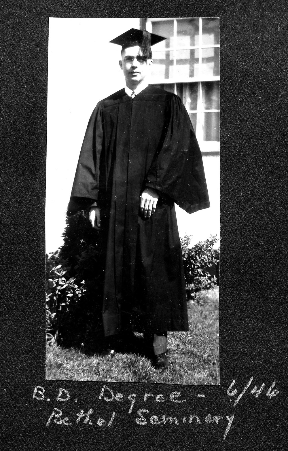 Ernie received his Bachelors of Divinity Degree in 1946 from Bethel Seminary in St. Paul, Minnesota.