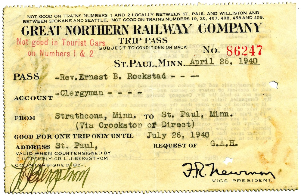 An Ernest Rockstad Great Northern Railway ticket from April 26, 1940.