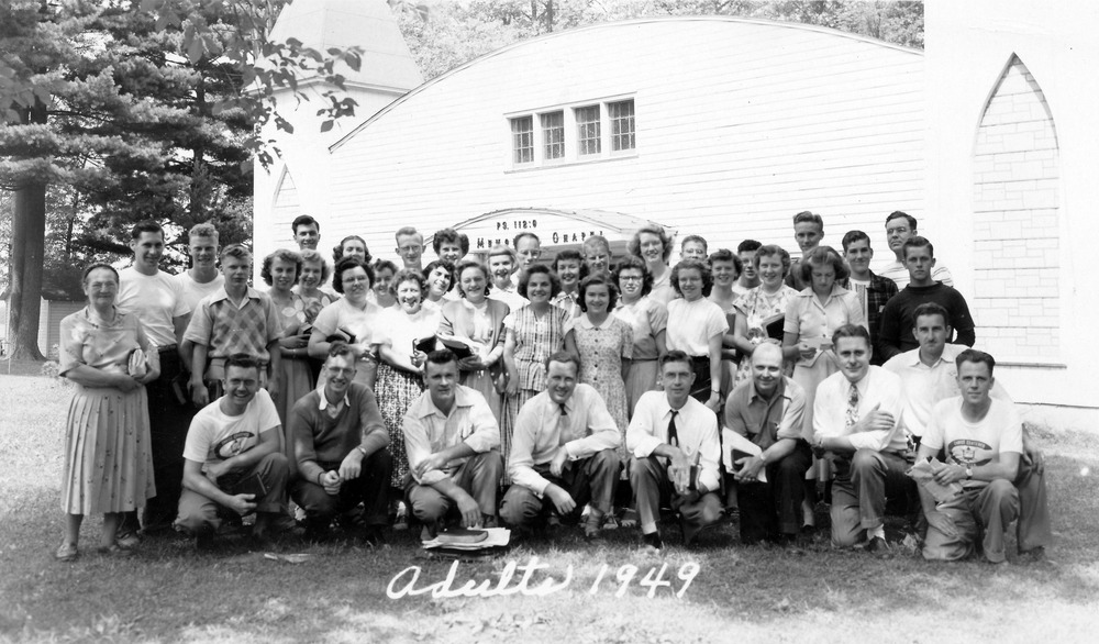 Ernie with participants at Chetek Bible Camp, 1949, where he served as a guest speaker for many years.