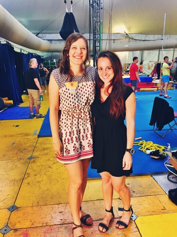 Iliana Bohéme y Laura Biondo en la carpa del Cirque Du Soleil - show Luzia