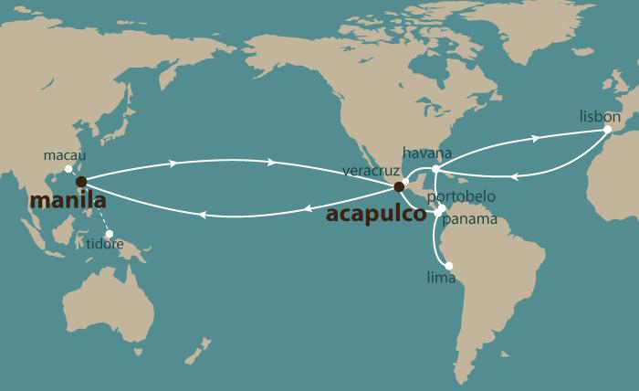 Map 1: Spanish Trade Routes.