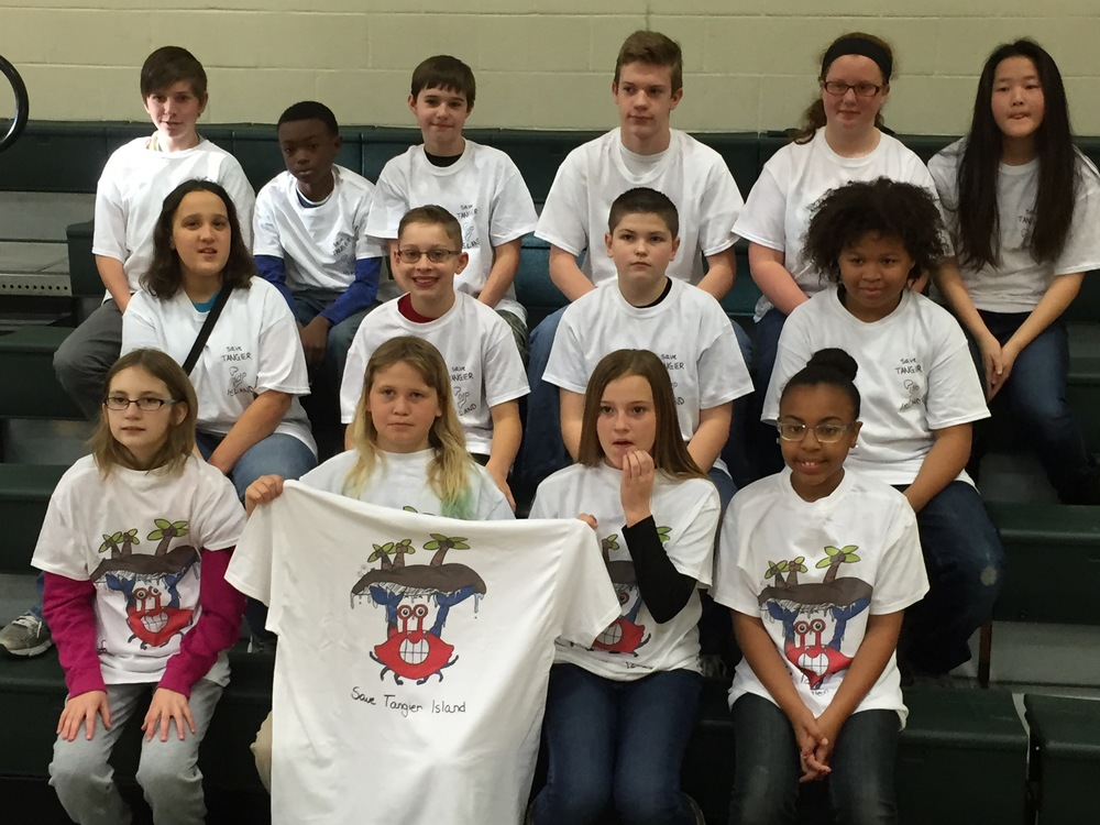 Northumberland Middle School County Community Problem Solving Team ECO designed a t-shirt and is running an awareness campaign to help Tangier Island obtain funding for a living shoreline to protect the island from further erosion.