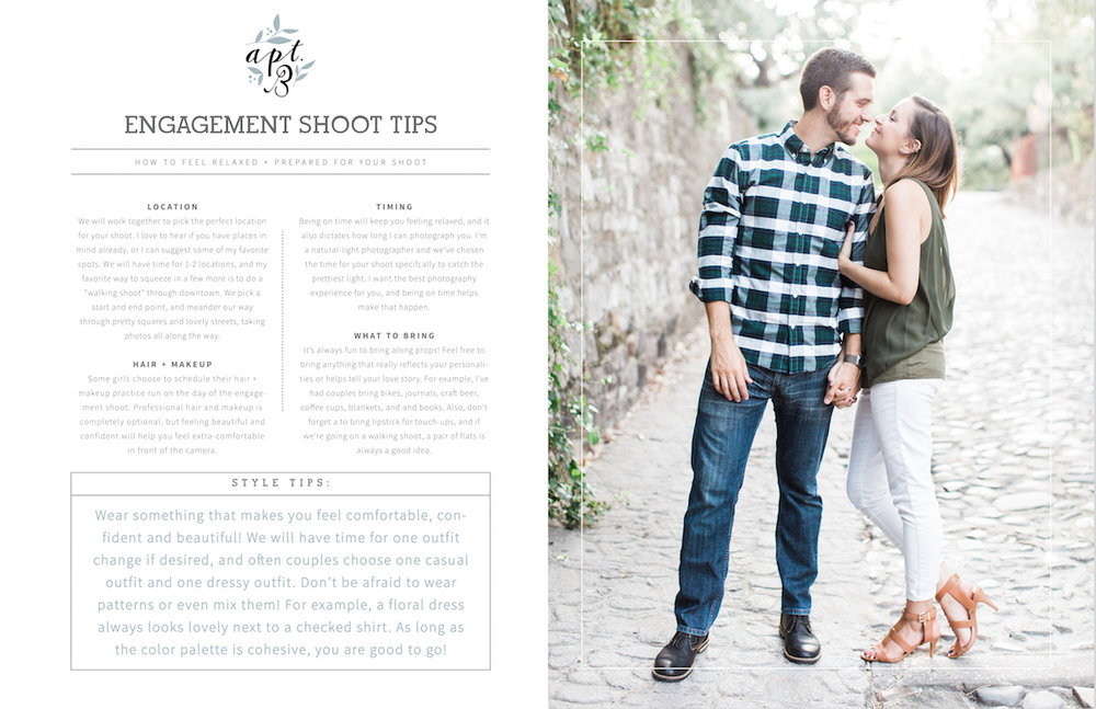 "GET THE FREEBIE: - Want a free editable ""Engagement Shoot Prep"" .psd template? Just drop your email below, and a link will magically appear!"