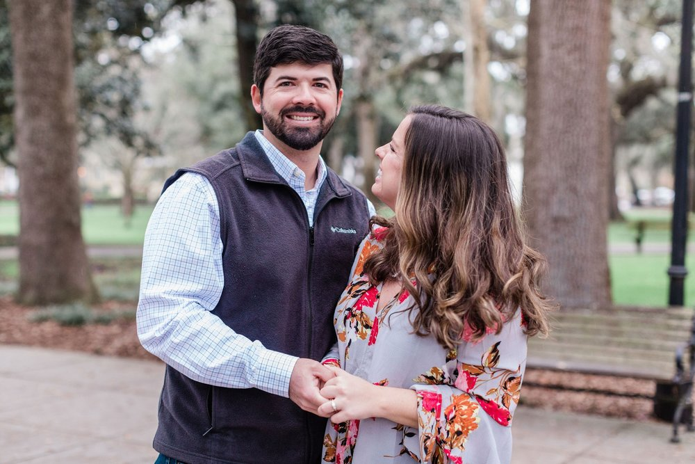 Travis + Abby's Surprise Forsyth Fountain Proposal - Savannah Proposal Photographer | Apt. B Photography