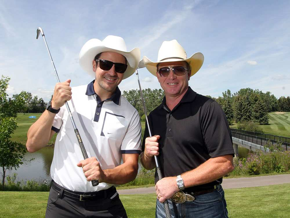 CLICK ON PICTURE FOR VIDEO: luge athlete Sam Edney and bull rider Cody Snyder team off at the Shaw Charity Classic as it gets into the Stampede spirit by hosting its annual Shootout at the Meadows at the Canyon Meadows Golf Club.
