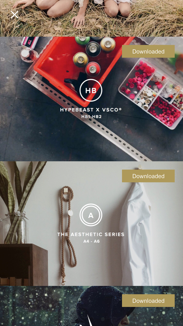 Hypebeast and The Aesthetic Series via the VSCO Store.