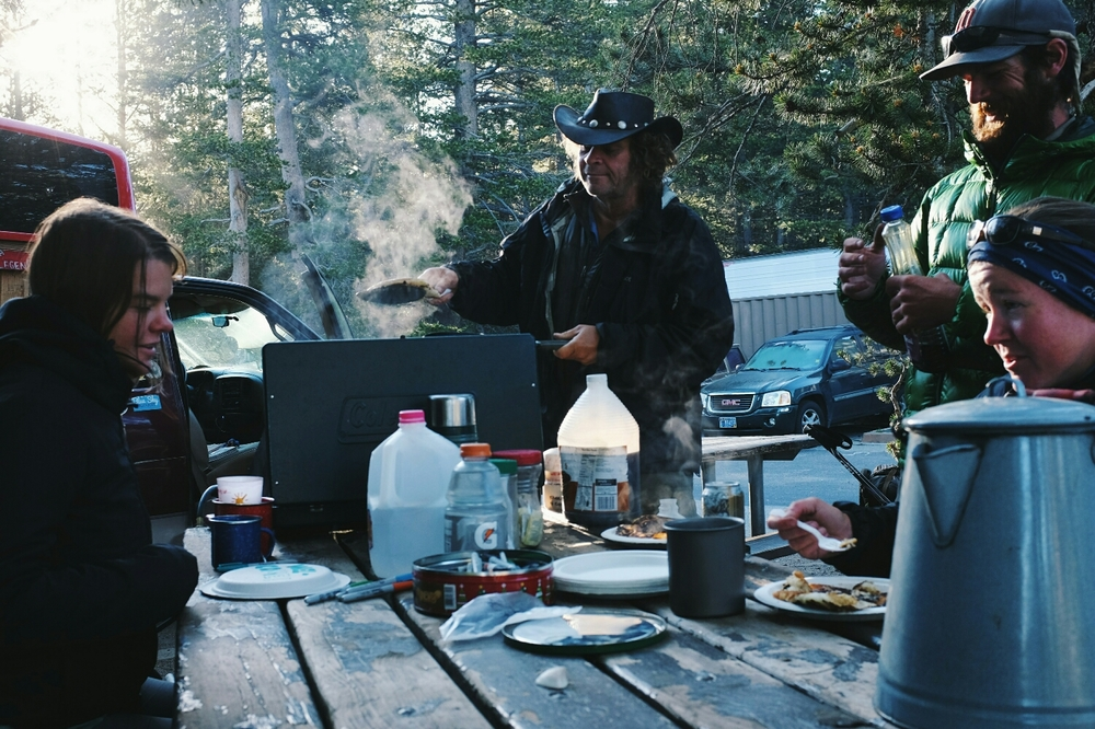 Legend making Pan Cakes in Tuolumne. What a guy.