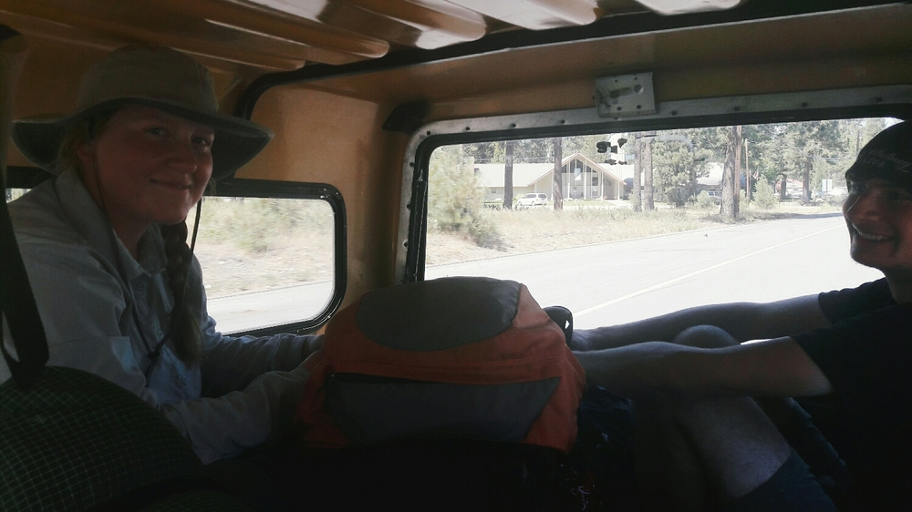 In the hot box to the trail head