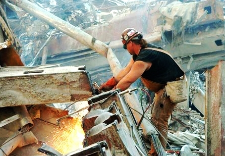 Tony Esola, an ironworker, on The Pile at Ground Zero after 9-11