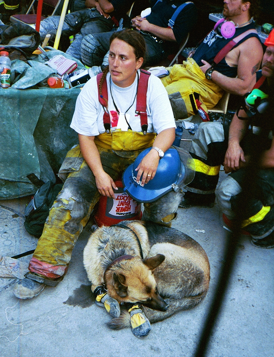 Merlin Durhman and her K9, Kermit, at Ground Zero during 9-11 recovery