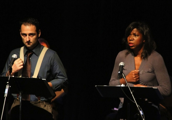 Ethan Kogan, Nicki Micheaux, cast of 110 Stories on stageof 110 STORIES
