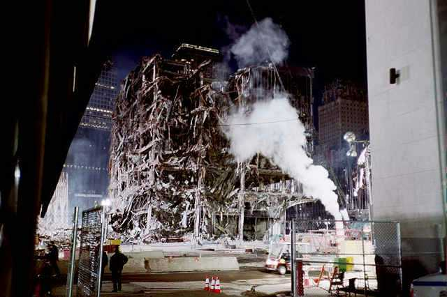 ground zero wreckage after 9-11