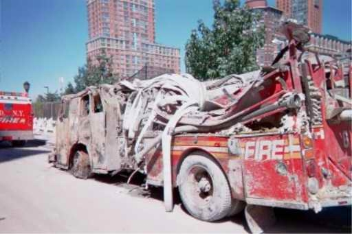 crushed fire engine after 9-11