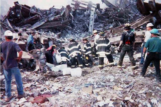 rescue workers bucket brigade on 9-11