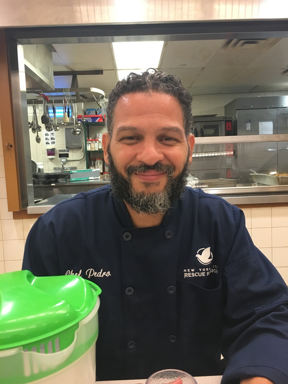 This is Pedro Rodriguez, a professionally trained chef serving as lead chef at the NY Rescue Mission and deacon of mercy at Recovery House of Worship