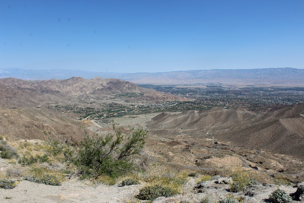 View of Coachella Valley from a mountain lookout on the way to San Diego