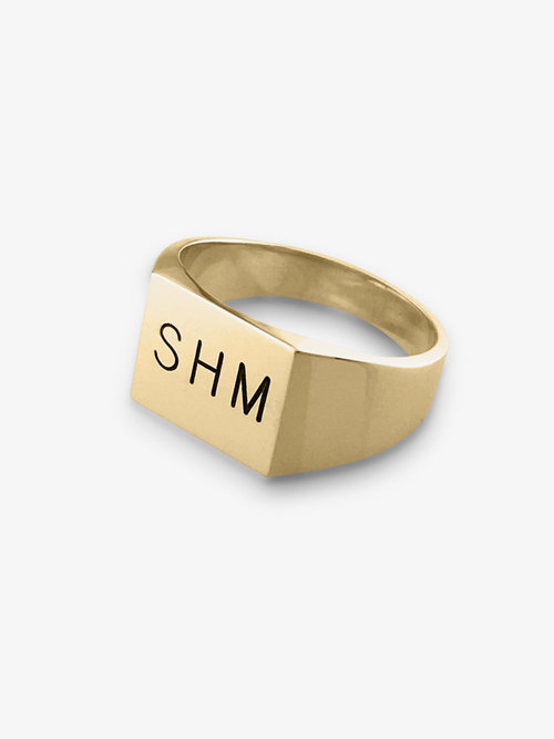 Mens Gold Signet Ring With Engraving Memories By Mastercraft
