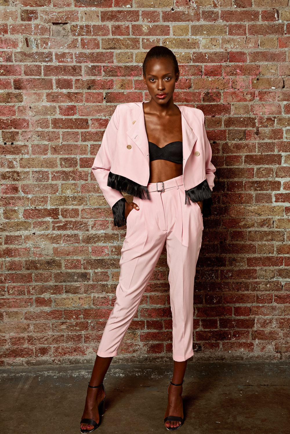 Pink Cropped Jacket and Trousers