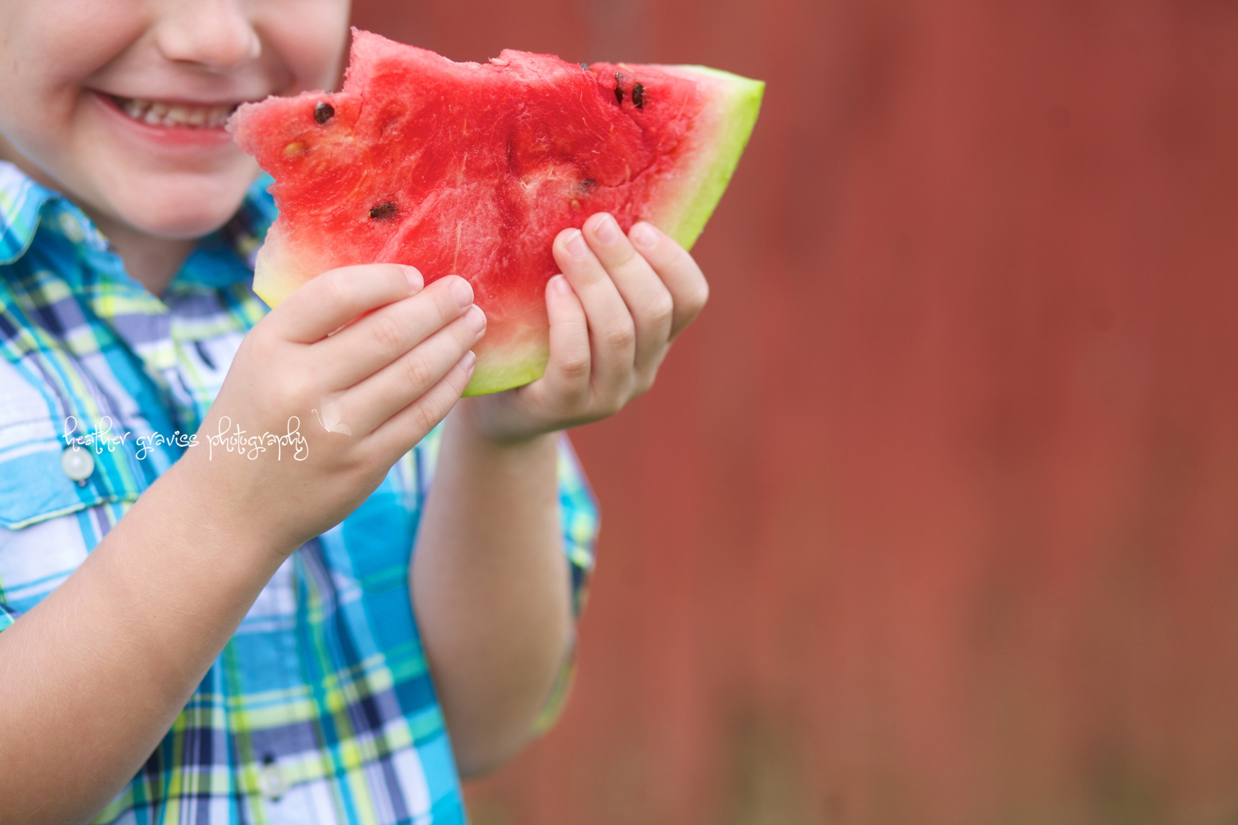 hands with watermelon