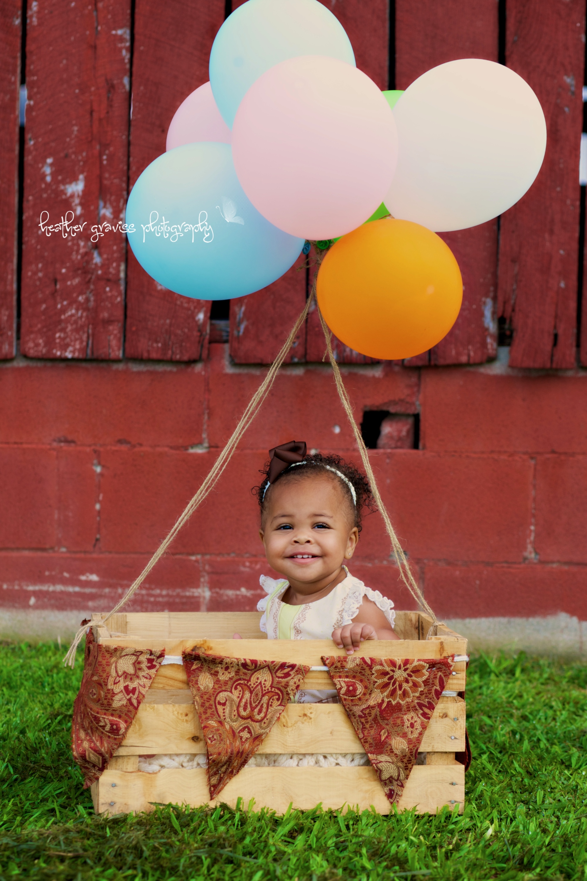 little girl in balloon basket